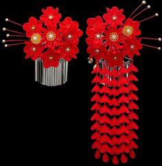 k-04 Red Plum Chrysanthemums Kanzashi