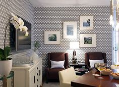 Great wallpaper.  Cool little multipurpose room.