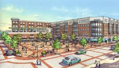 RTKL. Pearl St, Metuchen, NJ. Rendering by Bondy Studio. Pen Sketch, Drawing Sketches, Building Illustration, Point Perspective, Architectural Presentation, Architectural Drawings, Transport, Urban Design, Facade
