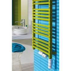Kolorowe grzejniki ozdobne w stylowej łazience. #grzejniki #ozdobne #łazienka #aranzacje