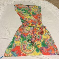 Ralph Lauren multicolored tie dress -size medium -cap sleeves -orange, yellow, purple, green, magenta -85% polyester Ralph Lauren Dresses