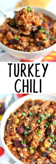 If you're looking for a healthy, filling and delicious dinner, this turkey chili is exactly what you need! Turkey chili come together quickly for a great weeknight meal! Chilli Recipes, Ww Recipes, Turkey Recipes, Slow Cooker Recipes, Crockpot Recipes, Soup Recipes, Dinner Recipes, Cooking Recipes, Healthy Recipes