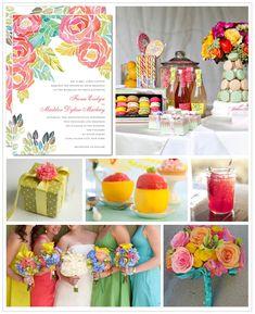 Vintage -Bright Spring Wedding Colors — Wedding Ideas, Wedding Trends, and . Bright Wedding Colors, Spring Wedding Colors, Spring Colors, Spring Weddings, Bright Colors, Rainbow Colors, Bright Spring, Wedding Themes, Wedding Decorations