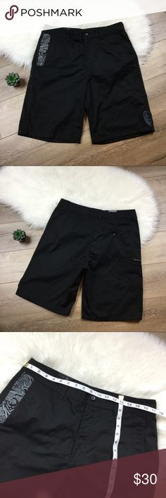 Metal Mulisha black shorts Great like new black shorts from Metal Mulisha. Men's 34, additional measurements included to ensure proper fit. Front pockets one small side pocket and one back button pocket. Save 20% instantly when bundled with any other item! Metal Mulisha Shorts