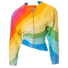 S/S 1990 Thierry Mugler Rainbow Leather Jacket   From a collection of rare vintage jackets at https://www.1stdibs.com/fashion/clothing/jackets/