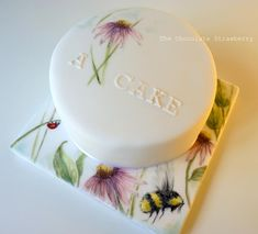 Hand-painted cake with flowers and insects - Cake by Sarah Jones