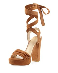 Backagain Suede Lace-Up Sandal Nude Sandals 689d85487cda