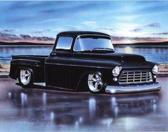 1957 Chevy 3100 Stepside Pickup Classic Truck Art Print w/ Color Options Gmc Trucks, Hot Rod Trucks, Diesel Trucks, Lifted Trucks, Pickup Trucks, Jeep Pickup, Pickup Camper, Lowrider Trucks, Truck Drivers