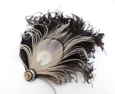 Ivory White Peacock Feather Fascinator, Hair Accessory, Black, Bridesmaid, Weddings, Hair Clip, 1920s Flapper, Victorian, Batcakes Couture