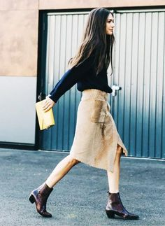 Fall Outfit Idea, Suede Skirt, Black Sweater, Ankle Boots, Envelope Clutch
