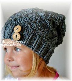 Háčkovaná čepička houmeles Crochet Baby Hats, Knitted Hats, Knit Crochet, Knitting Patterns, Crochet Patterns, Bob With Bangs, Slouchy Hat, Beret, Baby Dress