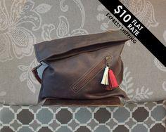 Ordner über Tasche, übergroßen Foldover Tasche, Diagonale Foldover Geldbörse Leder Ordner über