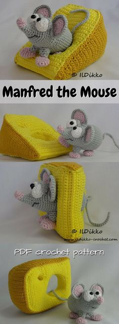 PURCHASED CROCHET pattern - Adorable little mouse amigurumi pattern with a wedge of cheese! I love creative toy crochet patterns like this! What a sweet cartoon mouse! ~ Manfred measures 11 x 8 cm (approx. x cheese 15 cm x 8 cm (approx. Crochet Mouse, Crochet Amigurumi, Cute Crochet, Amigurumi Doll, Crochet Crafts, Crochet Dolls, Crochet Baby, Crochet Projects, Knit Crochet