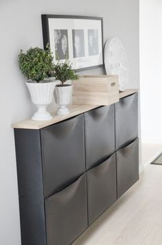 Need storage in a narrow space like a hallway? Use Trones - ikea organization