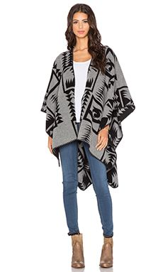Velvet by Graham & Spencer Camio Wool Poncho in Grey & Black