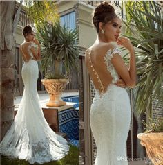 2014 Bridal Gowns With Court Train And Open Back New Arrival Sweetheart Mermaid Lace Wedding Dresses $185.00