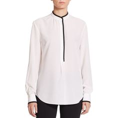 Piazza Sempione Piped Silk Blouse ($790) ❤ liked on Polyvore featuring tops, blouses, apparel & accessories, tailored shirts, long sleeve shirts, long sleeve silk blouse, shirts & blouses and cuff shirts