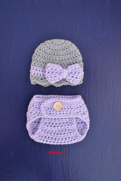 Booties Newborn 0-3 Months Crochet Dark Camouflage and Lilac Floral Diaper Cover Set with Hat