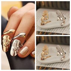 New Exquisite Cute Retro Queen Dragonfly Design Rhinestone Plum Snake Gold/Silver Ring Finger Nail Rings, $1.58 | DHgate.com
