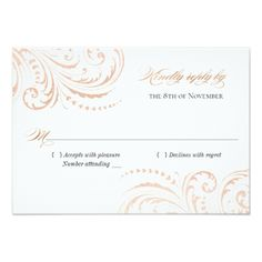 Rose Gold Foil (Faux) Boho Chic Wedding RSVP Card - gold wedding gifts customize marriage diy unique golden