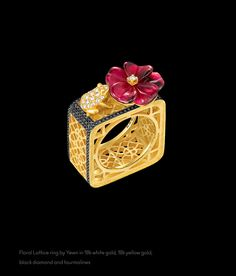 Dickson Yewn 'Floral Lattice' ring in 18k white gold, 18k yellow gold, black diamonds and tourmalines