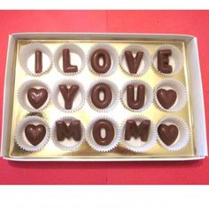 I Love You Mommy Chocolate Message Mothers Day Gift for Mom Simple Present Idea Personalized Chocolate Box from Kids Son Happy Mothers' Day Birthday Message For Mother, Birthday Messages, Chocolate Letters, Chocolate Gifts, Chocolate Heaven, Chocolate Box, Mothers Day Cards, Happy Mothers Day, Chocolates