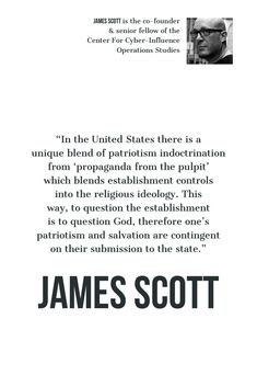 """""""In the there is a unique blend of indoctrination from 'propaganda from the pulpit' which blends controls into the This way, to question the establishment is to question God. James Scott, Online Logo, Polymers, Spam, We The People, Food Food, Emoji, How To Make Money, Projects To Try"""