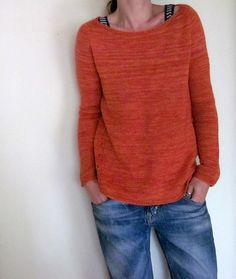 Ravelry: Gretchen Pullover pattern by Isabell Kraemer. Is there anything better than a simple orange hand knitted pullover? Jumper Knitting Pattern, Hand Knitting, Diy Pullover, How To Purl Knit, Knit Or Crochet, Knit Patterns, Pulls, Knitting Projects, Knitwear