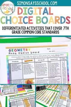 These 7th grade math common core resources are a great way to provide student choice while addressing important middle school math standards. It includes 7th grade math projects that can be used for distance learning, or while teaching math in your 7th grade classroom.#middleschoolmath #7thgradecommoncore #commoncoremath #commoncoreresources #mathresources