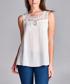 White Crochet-Accent Sleeveless Tunic #zulily #zulilyfinds