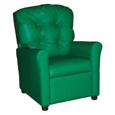 Brazil Furniture 4-Button Back Child Recliner Vinyl Green - 400-VINYL-GREEN