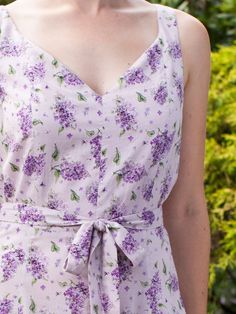 The fragrant lilacs lining the hilly streets of my home town in late May let me know summer is finally here.  I always take time to admire them because they will be gone before you know it! Inspired by this most fragrant flower, the Lilac dress is styled with a sweetheart neckline and a shaped, gently gathered skirt.