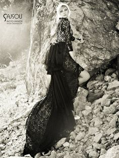 fashion photoshoot in black dress