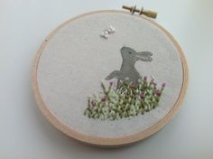 Textile Rabbit Picture. Embroidery hoop art  £13.50
