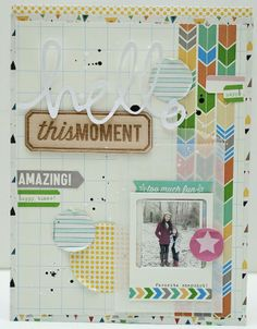 Hello This Moment by Jaime Warren using the Cocoa Daisy March kit, Grey Street, available March 1 at midnight ET. Get our well-curated kit for $32.95 + S&H here: www.cocoadaisy.com #cocoadaisykits #scrapbooking #layers #woodveneer #frame #labels #motherdaughter #diecut #stripes