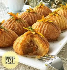 A dessert with orange grater and hazelnut in its dough nef A delicious dessert that you can serve to Ramadan Recipes, Holiday Recipes, Cooking Time, Cooking Recipes, Pasta Cake, Orange Dessert, Baklava Recipe, Breakfast Items, Turkish Recipes