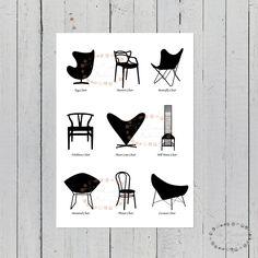 pack laminas sillas famosas, laminas sillas, laminas nordicas, sillas famosas, laminas A4, laminas A3, laminas decoracion, sillas icono, sillas de diseño, tolix, eames, vitra, blanco y negro, laminas bonitas, cuadros bonitos, laminas escandinavas, cuadros escandinavos, cuadros nordicos