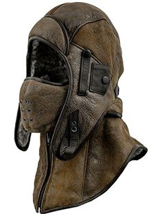 Sterkowski Shearling Leather Men s Aviator Trapper Cap with Mask and Collar  US 6 3 4 517507eae7b4