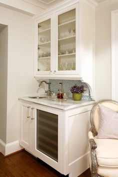 """Small Wet Bar Design- storage for outdoor glasses, etc. Include wine fridge and """"snack"""" fridge"""