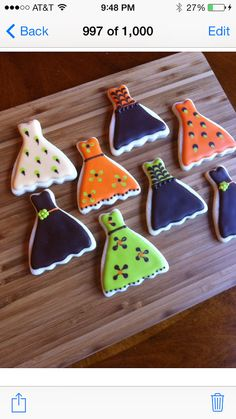 Dress cookies~        by Heidissweetshoppe on Etsy, Green, Orange, Black