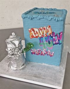 Amazing graffiti cake with a wicked spray paint!  Perfect for any artist's party.