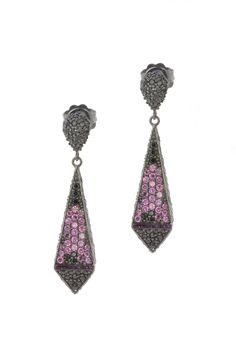 Empire Earrings from The Manhattan Collection: hand made 925 sterling silver plated with black rhodium, hand-set with rhodolite garnet and black spinel accented by glittering purple enamel.
