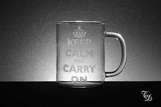 Glass Mug Hand Engraved di TreDesium su Etsy