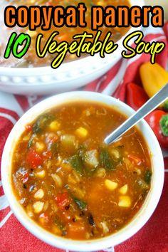 Panera Vegetable Soup Recipe, Vegetarian Vegetable Soup, Veggie Soup Recipes, Best Soup Recipes, Low Calorie Vegetable Soup, Vegetarian Recipes, Cooking Recipes, Vegetable Soup Crock Pot, Cat Recipes