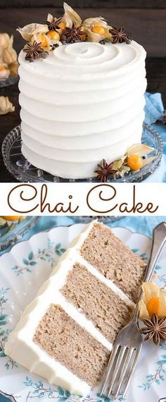 This Chai Cake is a special treat for chai tea lovers. Packed with fragrant spices and paired with a simple cream cheese frosting. Cake Chai Cake with Cream Cheese Frosting Just Desserts, Dessert Recipes, Delicious Desserts, Yummy Food, Fall Cake Recipes, Dinner Recipes, Pumpkin Recipes, Food Cakes, Cupcake Cakes