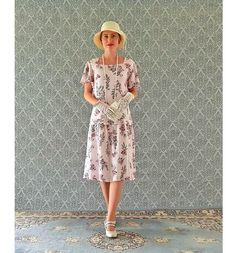 Downton Abbey rayon dress with flutter sleeves in floral pale