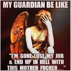 My guardian angel is available for hire 😂 Funny Quotes, Me Quotes, Funny Memes, Hilarious, Jokes, Funny As Hell, The Funny, Scary Dreams, Viking Quotes