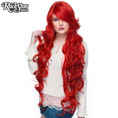 """Cosplay Wigs USA™ <br> Curly 90cm/36"""" - True Red -00335"""