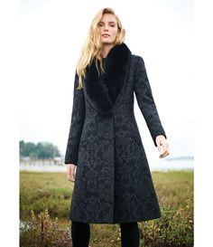 c2f60b6fa911 Katherine Kelly Real Fox Fur Shawl Collar Brocade Coat Katherine Kelly