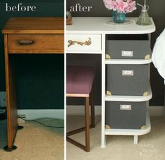 Transform a thrift store desk into a vanity AND nightstand!